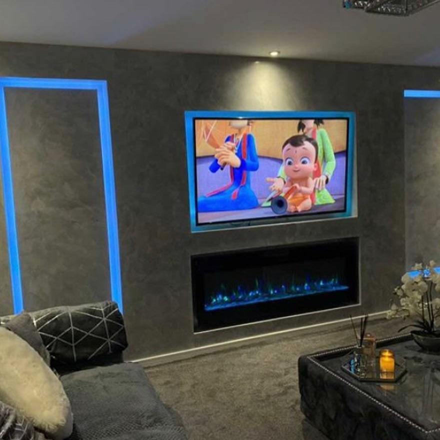 PS Plastering Services - Venetian Plaster LED Fireplace Scotland - Square